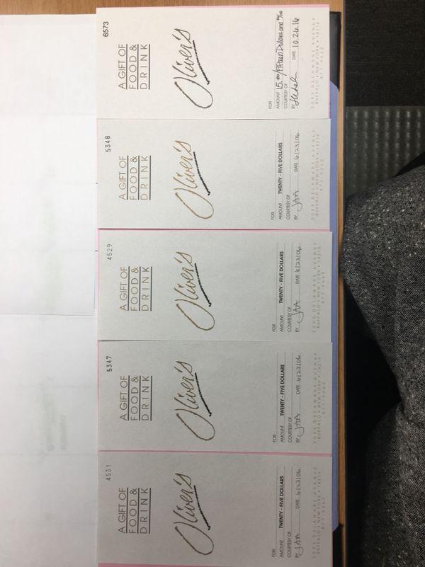 Oliver's Restaurant Gift Certificates