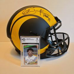 LA Rams Eric Dickerson Signed Eclipse Speed Helmet w/ Rookie Card Thumbnail
