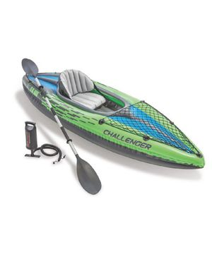 Intex Challenger K1 Kayak, 1-Person Inflatable Kayak Set with Aluminum Oars and High Output Air Pump, with adult general purpose boating vest for Sale in Washington, DC