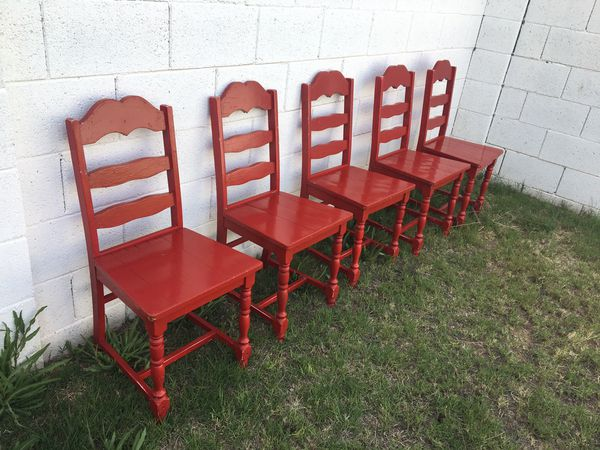 Swell Red Painted Wood Chairs Shabby Chic Farmhouse Set Of 5 For Sale In Phoenix Az Offerup Download Free Architecture Designs Lukepmadebymaigaardcom