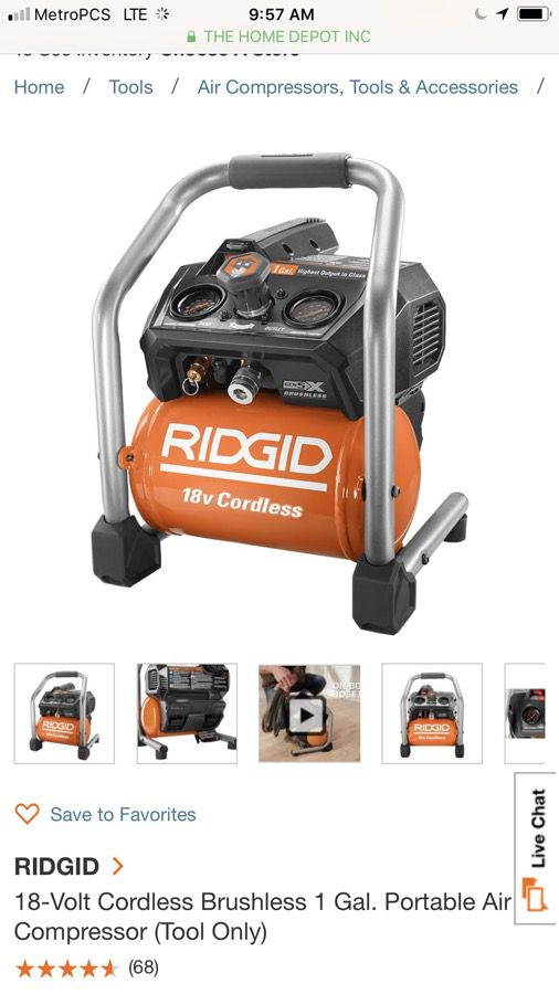 New Ridgid Cordless Portable Air Compressor Tool Only For Sale In