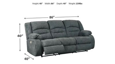 Gray Fabric Power Recliner Thumbnail