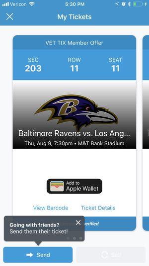 2 Ravens Preseason Tickets for sale for Sale in Derwood, MD