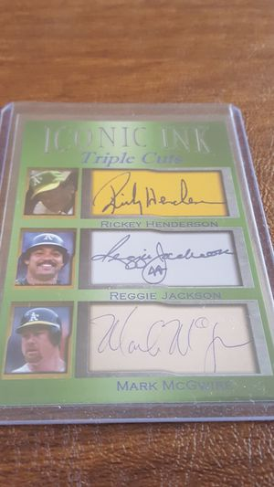 Photo Rickey Henderson Reggie Jackson Mark McGwire iconic ink facsimile autos Only 1000 made Oakland A's