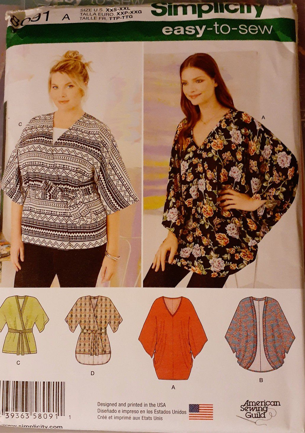 Simplicity 8419 Kimono Top Sewing Pattern