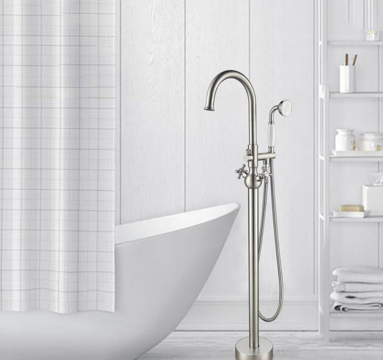 Vanity Art 48 in. H x 12 in. W Single Handle Claw Foot Tub Faucet with Hand Shower in Brushed Nickel