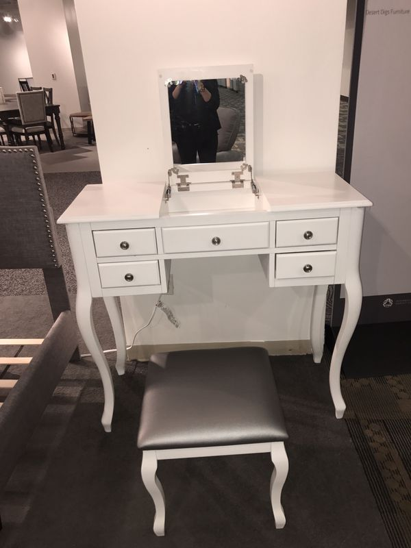 Bobkona High Utility Flip Up Mirror Vanity Set With Chair White For