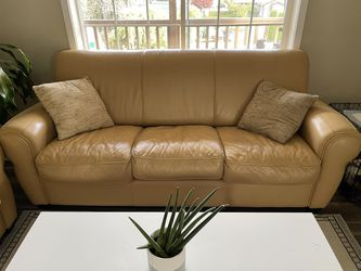 Beige Leather Couch Set Thumbnail