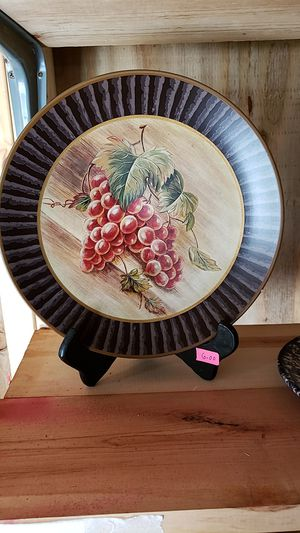 Beautiful plate and wooden plate stand for Sale in Farmville, VA