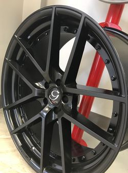 """CRAZY DEAL!! New 22"""" Staggered Giovanna 2-Piece Gloss Black Rims Wheels 5x4.5 Gianelle Challenger Thumbnail"""