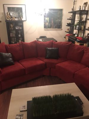 Red Microfiber sectional couch sofa for Sale in Landover, MD