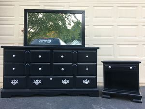 Lea Furniture Solid Wood 7 Drawer Long Dresser With Mirror and Nightstand Black With Silver Handles for Sale in Manassas, VA