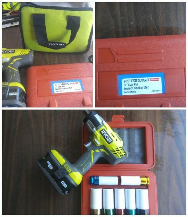 New 1 2 Inch Ryobi Impact Wrench And Lug Nut Socket Set
