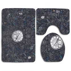 Clock 3 Piece Bathroom Rugs Set Bath Rug Contour Mat and Toilet Lid Cover Thumbnail
