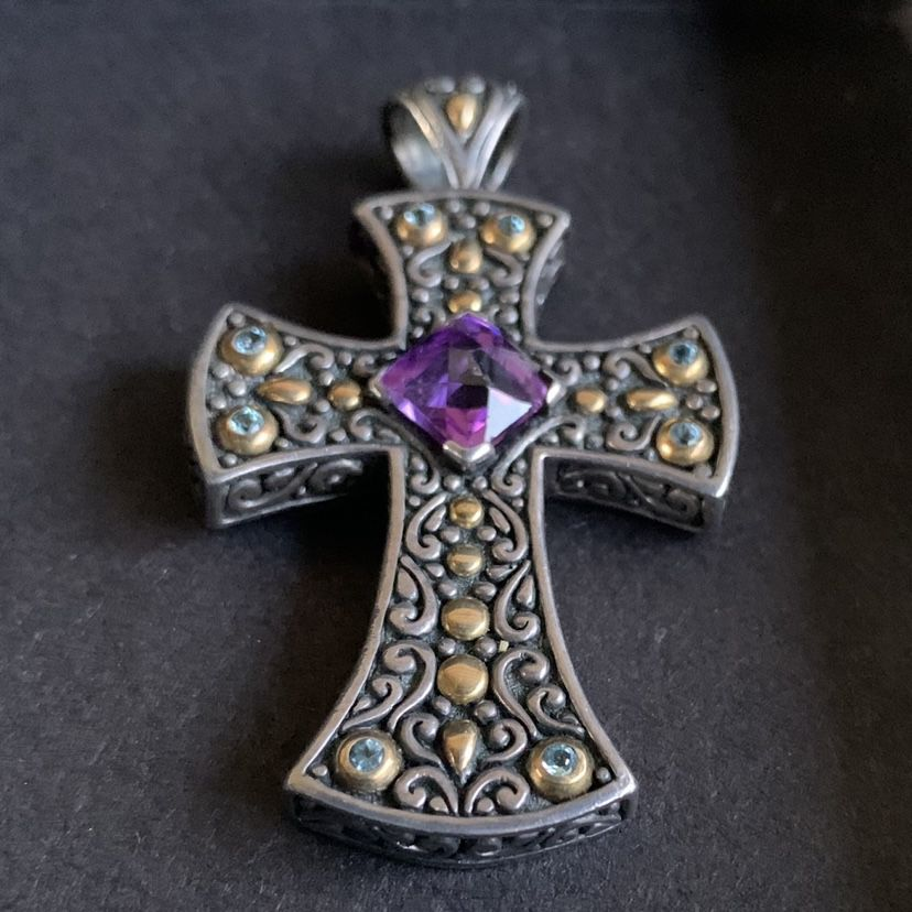 Sterling Silver and 18Kt Gold Cross Pendant