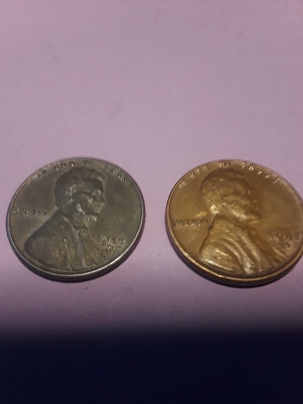 1943 zink wheat penny and 1947 copper wheat penny for Sale in