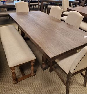 Photo Oversized 6PC rustic dining room table and 4 chairs with bench included