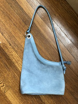 LOUIS FERAUD Paris 👜 handbag - Authentic blue suede & leather-excellent Condition for Sale in Houston, TX
