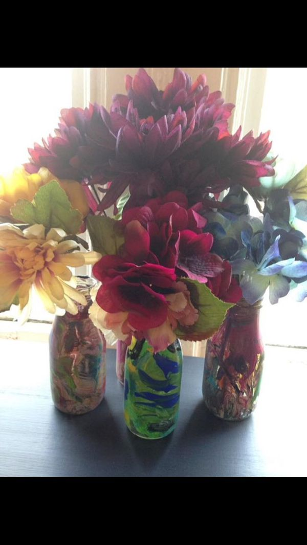 Hand Painted Via My Adorable Children Decorative Flower Vases And