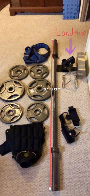 Barbell, plates, weight vests, landmine. for Sale in Chillum, MD