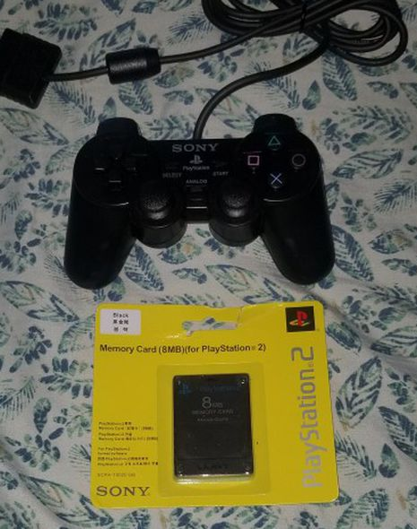 ps2 Controller With Memory Card