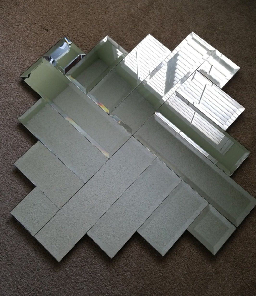 """Large Sized Cross Angled Mirror - 3' 5"""" × 3' 5"""""""