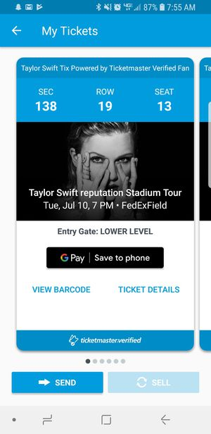 Taylow Swift Stadium Tix 7/10/2018 @7pm for Sale in Brentwood, MD