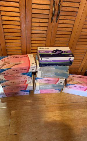 Photo Disposable gloves exam nitrile vinyl large medium small box medical safety hospital industrial