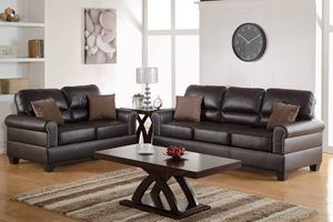 Brand new brown bonded leather trimmed in nickel finish sofa and loveseat for Sale in Beltsville, MD