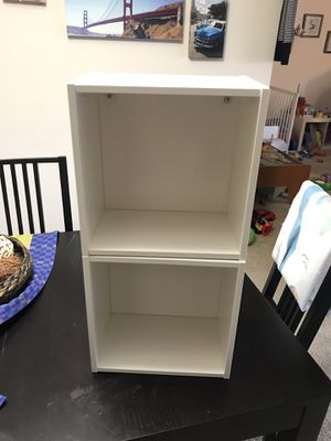 Two EKET Wall-mounted shelving unit, white with storage bins for Sale in Bethesda, MD
