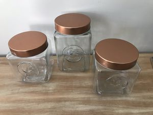 Set of 3 glass canisters with copper lids for Sale in Chesterfield, VA