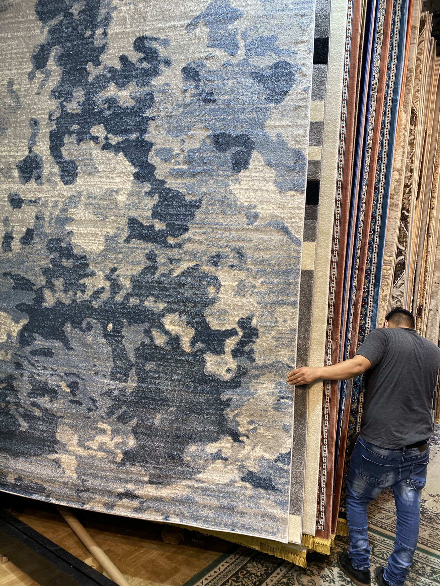 8x10 Area Rugs Carpet Rugs Modern Abstract Design Super Thick Tight Pile Colors Gray Blue Beige