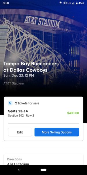 Two (2) tickets to Cowboys vs. Buccaneers for Sale in Dallas, TX