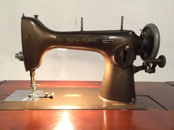 Antique New Home Sewing Machine Wood Cabinet Knee Pedal For Sale In Gorgeous New Home Sewing Machine Antique
