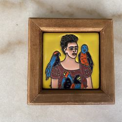Small Frida Kahlo hand painted tile hanging. (Price is firm) Thumbnail