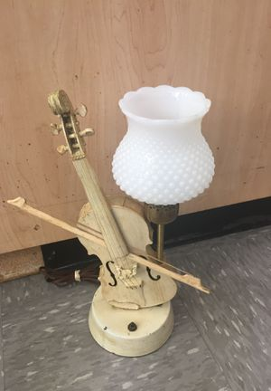 "Vintage 1940's Violin Fiddle Lamp Mid Century modern Musical instrument milk glass shade 16"" high for Sale in Orlando, FL"