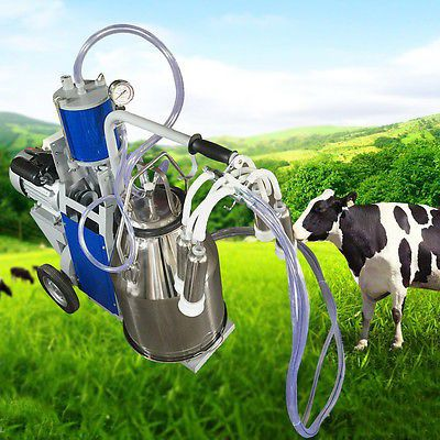 CA Electric Milking Machine Vacuum Piston Pump Milker For Farm Cow SS 25L Bucket