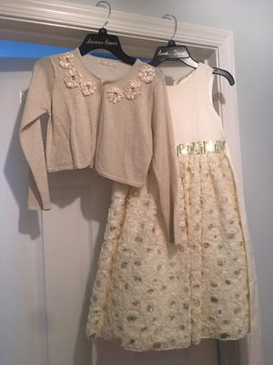 Girls, beautiful creme party dress and sweater, size 8 for Sale in North Potomac, MD