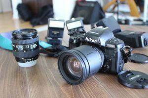 Nikon N90s 35mm SLR Film Camera + AF NIKKOR 24-50mm + Tamron AF 28-200mm + flashes and gadgets for Sale in Carlsbad, CA