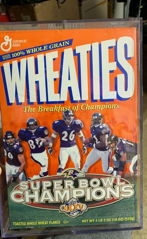 Baltimore Ravens Super Bowl XXXV Wheaties Cereal Box Mint Condition (In protective box) for Sale in Westminster, MD