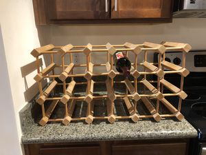 Wine rack - natural wood - holds 18 bottles for Sale in Charlottesville, VA