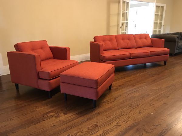 Living Spaces Couch Sofa Chair And Ottoman For Sale In Los Angeles