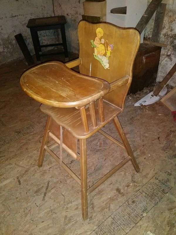 1950 S Antique Wooden High Chair For