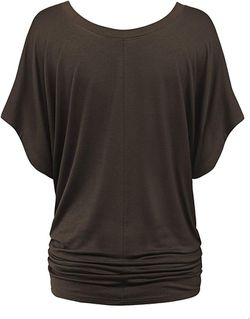 Lock and Love Women's Solid Short Sleeve Boat Crew Neck V Neck Dolman Top (small) Thumbnail