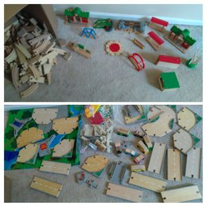 Wooden train tracks, cars, bridges, buildings - BRIO, Learning Curve - over 300 pieces for Sale in Vienna, VA