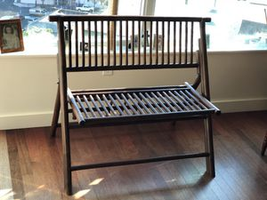 Bamboo Bench. Folds for storage for Sale in Portland, OR