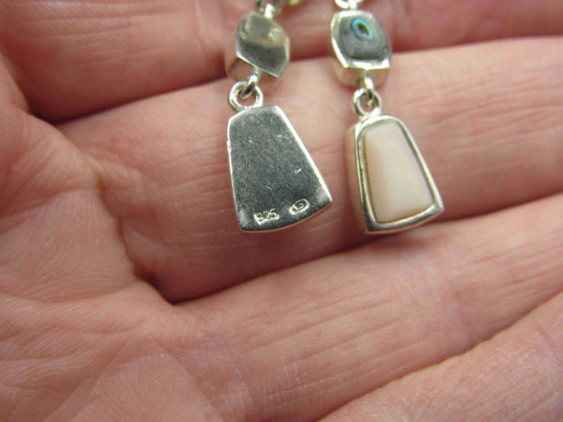 Sterling Silver Abalone & Other Shell Earrings Vintage Wedding Engagement Anniversary Beautiful Everyday Minimalist Cute Sexy