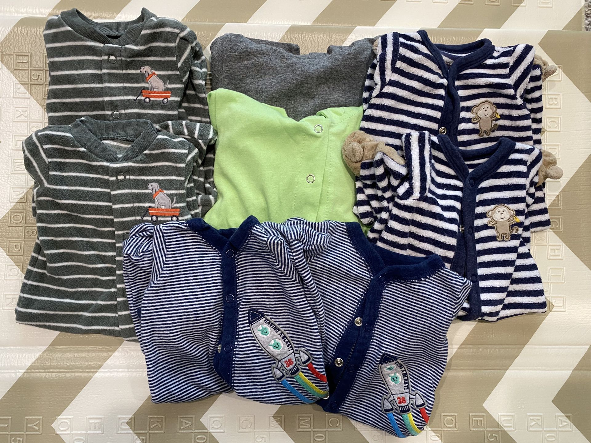 Newborn Twin Bundle w/3 sets of PJ's & specialty Dino outfits