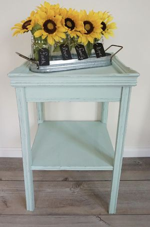Distressed hand painted farmhouse style side table - solid wood for Sale in Manassas, VA
