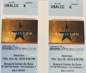 Hamilton Tickets! Thursday 12/20 for Sale in Miami, FL